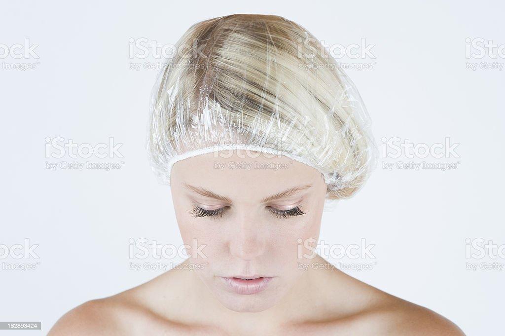 Blonde Beauty in Shower Cap stock photo