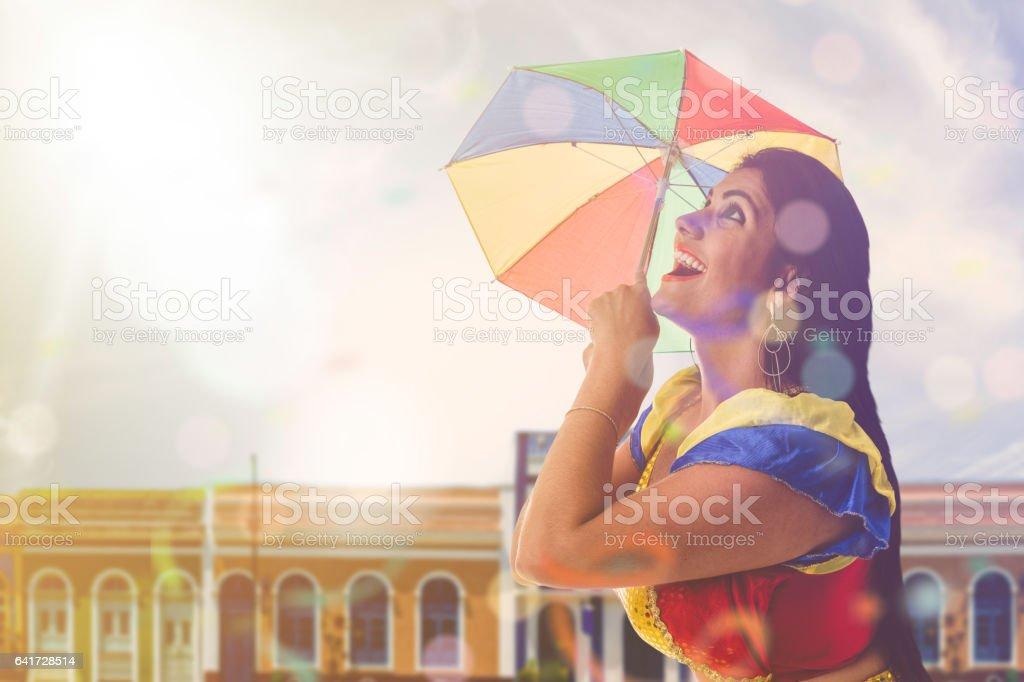 Blonde Brazilian female dancing Frevo in Pernambuco stock photo