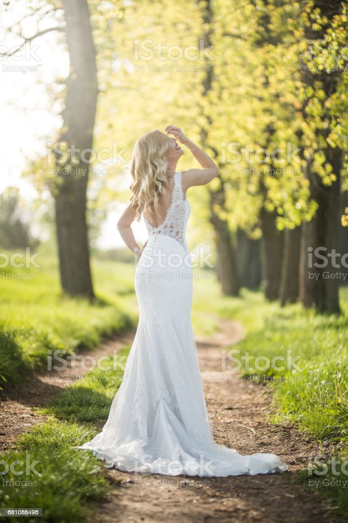 Blonde bride in glamurous dress stock photo