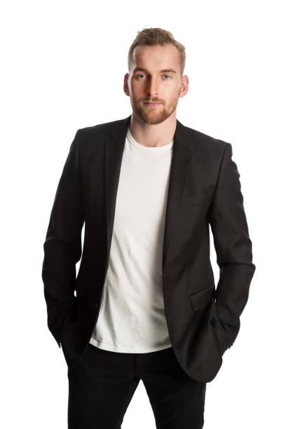 黒のジャケットの金髪のビジネスマン - ジャケット ストックフォトと画像
