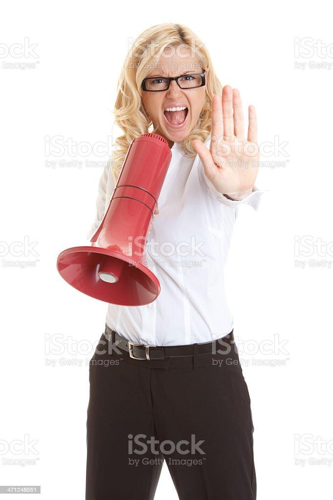 Blonde Businesswoman Saying