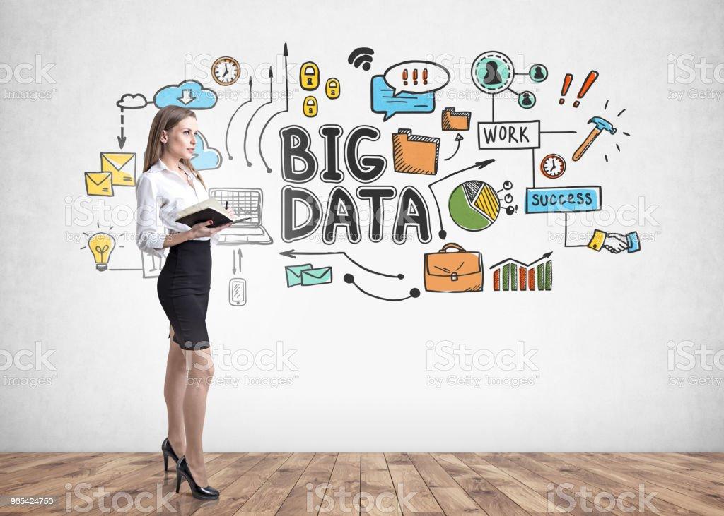 Blonde businesswoman with a notebook, big data zbiór zdjęć royalty-free