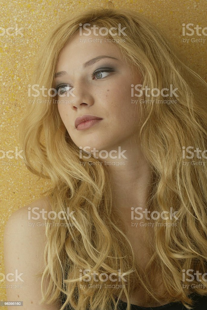 Blonde curled royalty-free stock photo