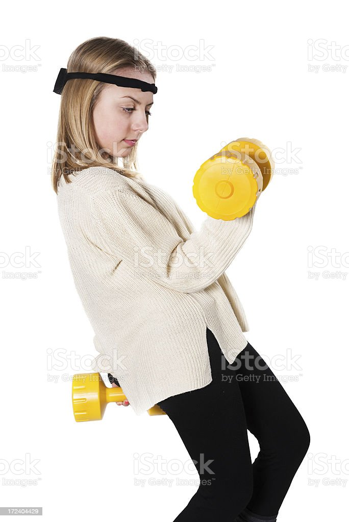 Blonde Cute Fitness Little Girl with Dumbbells royalty-free stock photo
