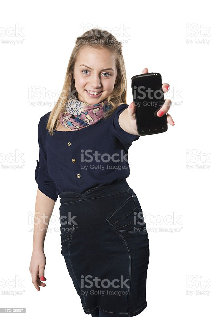 Blonde Cute Girl Showing Her Mobile Smart Phone royalty-free stock photo
