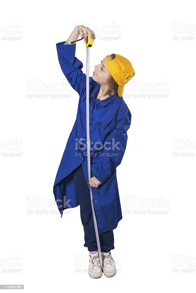 Blonde Cute Little Carpenter Girl With Measuring Tool royalty-free stock photo