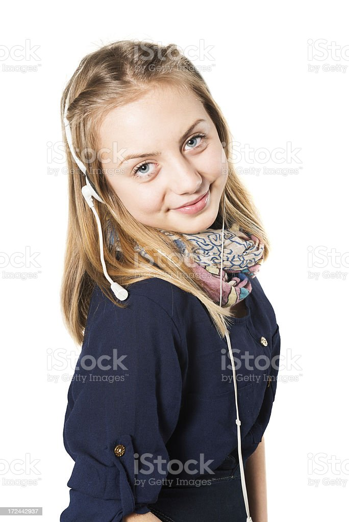 Blonde Cute Little Female Customer Service Agent With Headset royalty-free stock photo