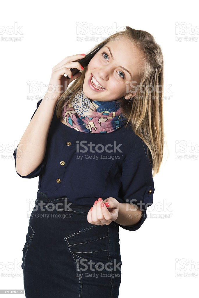 Blonde Cute Little Girl Laughing on Mobile Phone stock photo