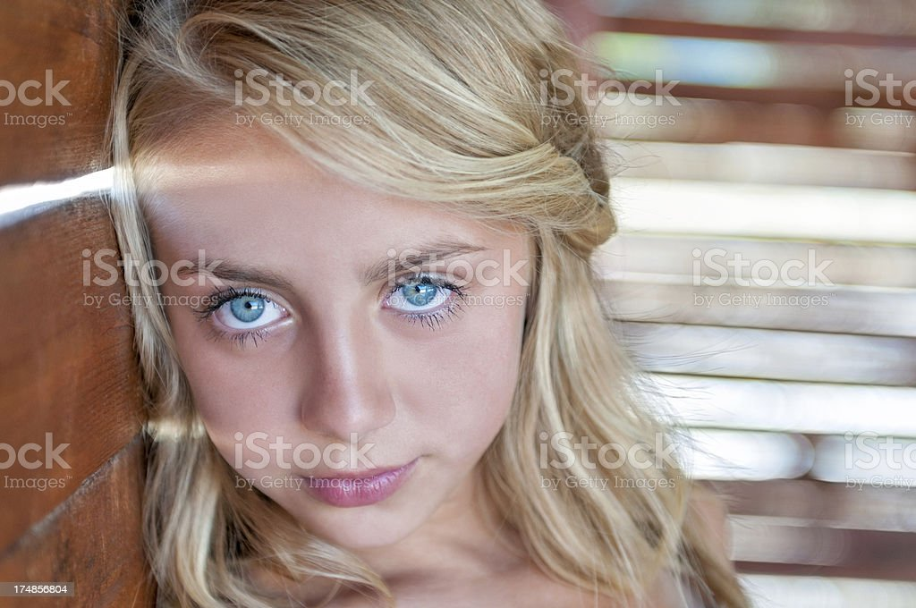 Blonde Cute Little Girl With Blue Eyes Portrait stock photo