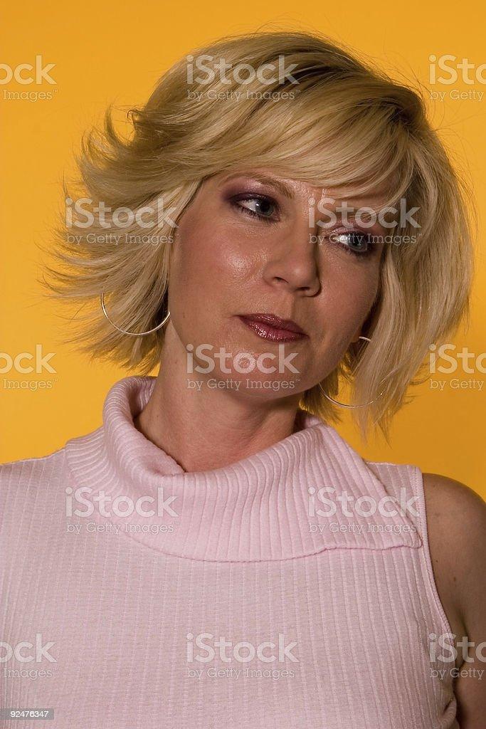 Blonde Fashion on Yellow 005 royalty-free stock photo