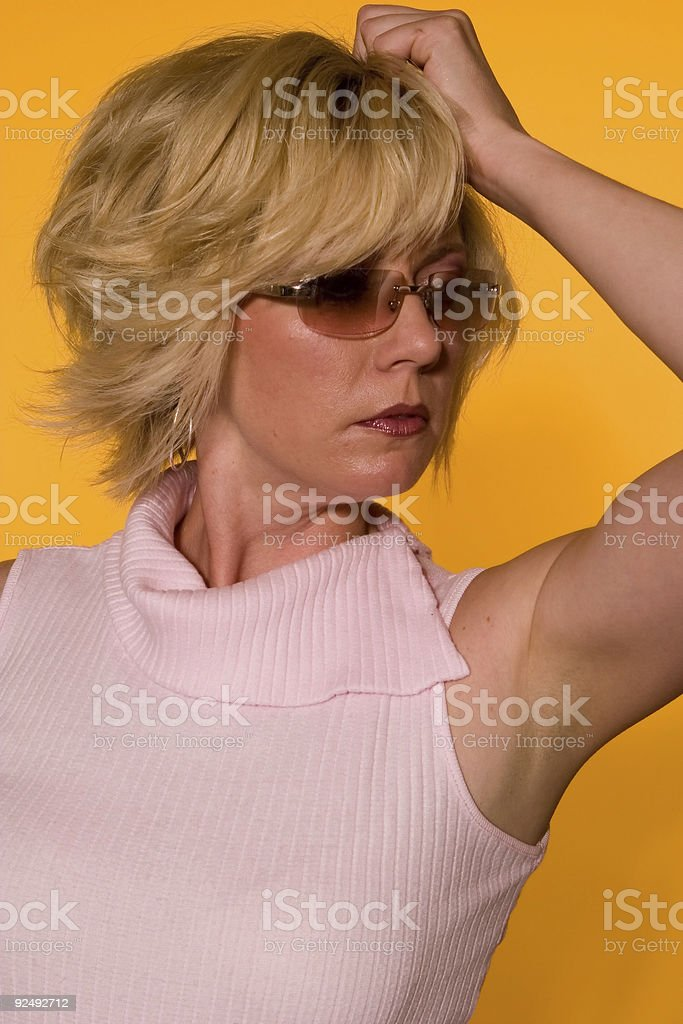 Blonde Fashion on Yellow 015 royalty-free stock photo
