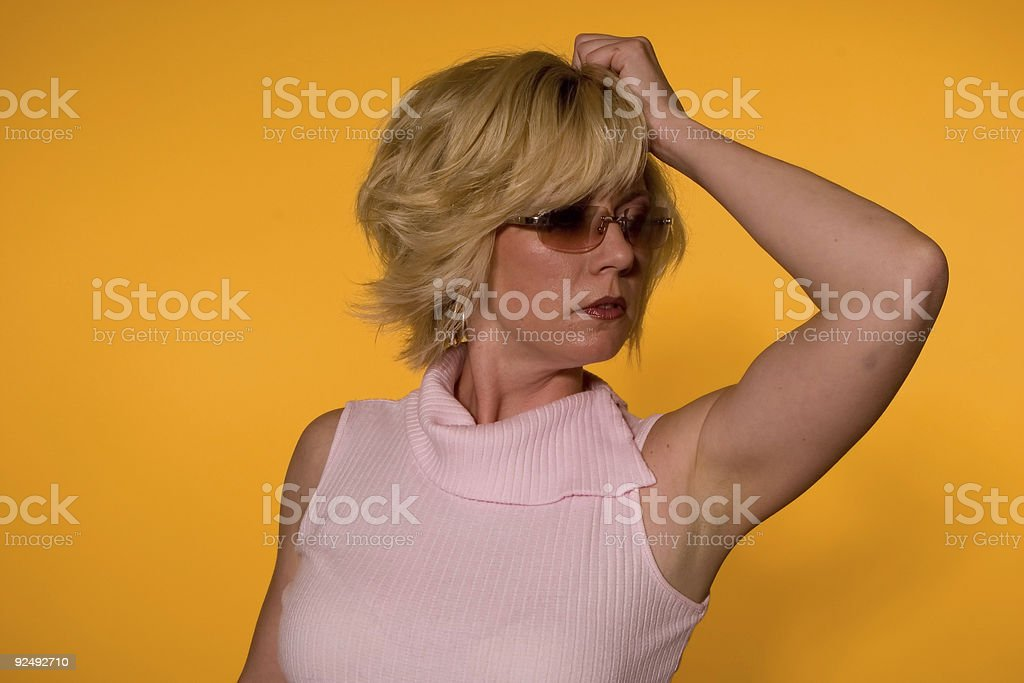 Blonde Fashion on Yellow 016 royalty-free stock photo