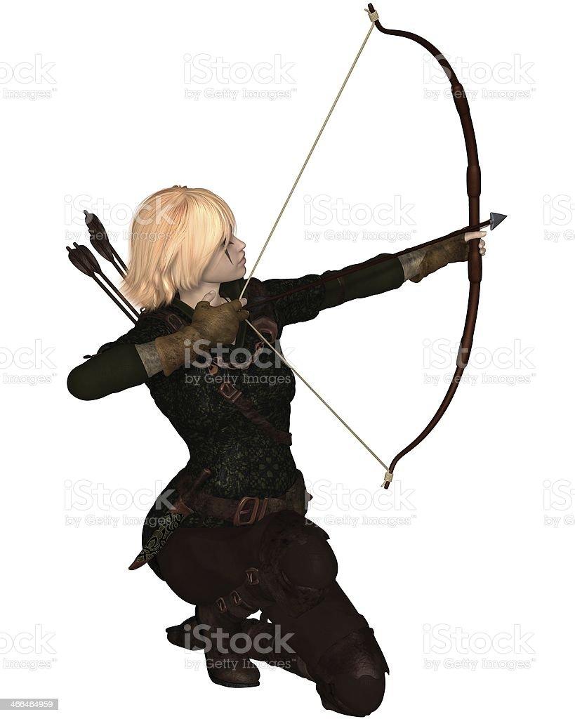 Rubia mujer Archer arrodillarse - foto de stock