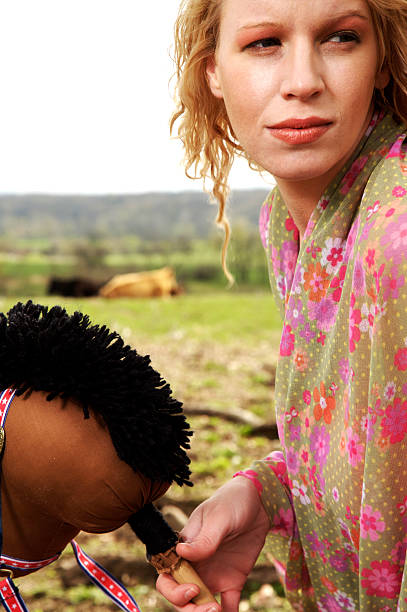 blonde female ranch portraits stock photo