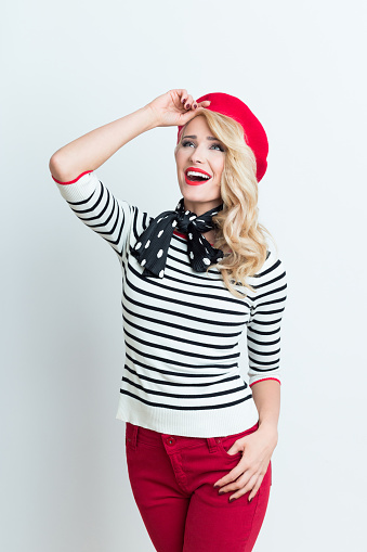 Blonde French Woman Wearing Red Beret Stock Photo - Download Image Now