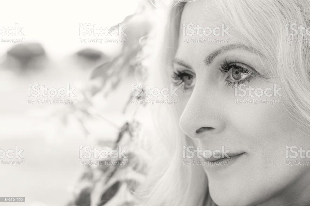 Blonde funny happy pretty romantic woman royalty-free stock photo