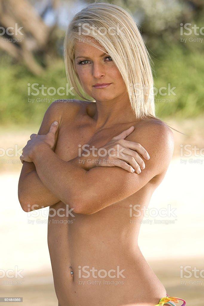 blonde girl at beach royalty-free stock photo