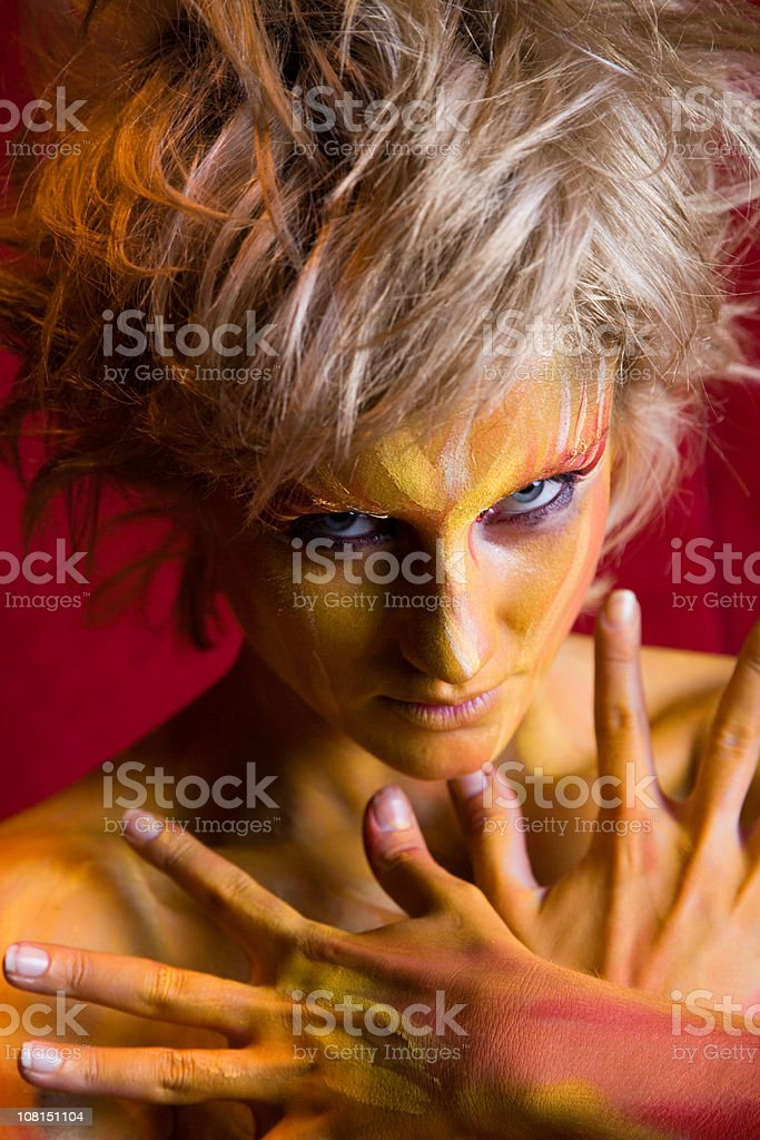 blonde girl body painting royalty-free stock photo
