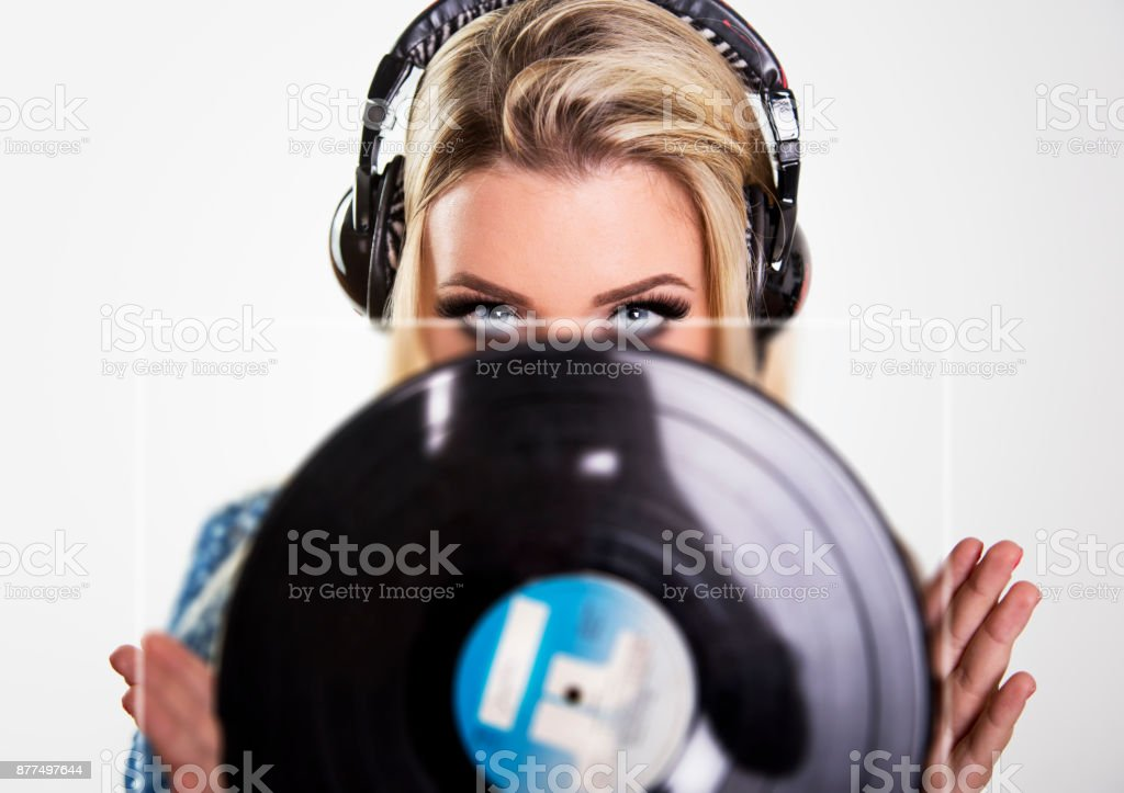 Blonde girl - Deejay stock photo
