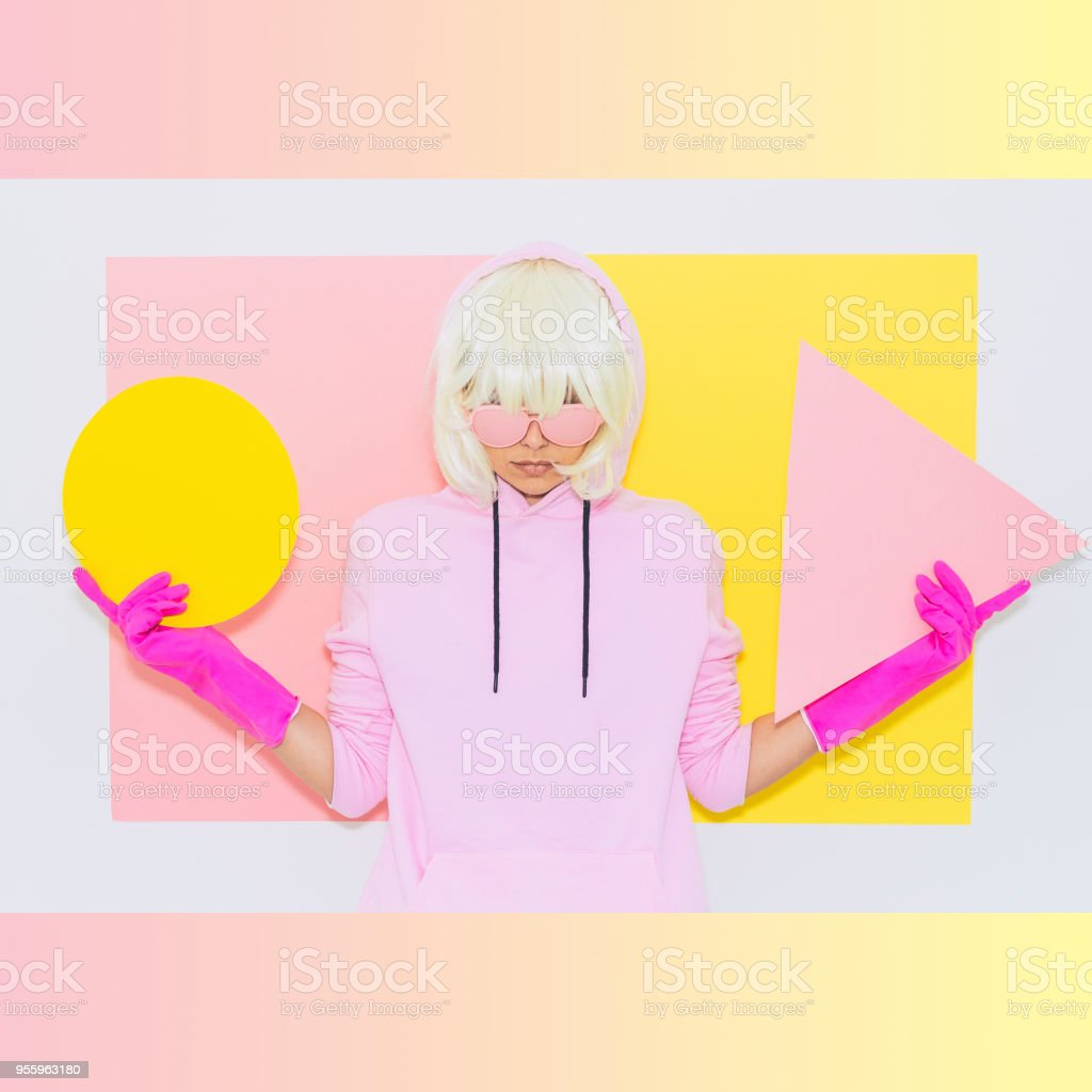 Blonde Girl in Fashion pink accessory stock photo