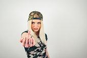 istock Blonde girl in green camo 1096105430