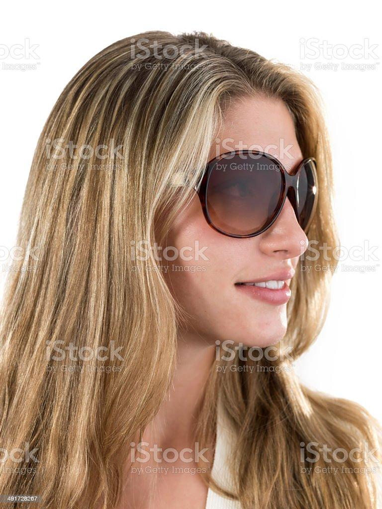Banco Usando Foto Stock Y Chica Sol Rubia Gafas De Más shQrdt