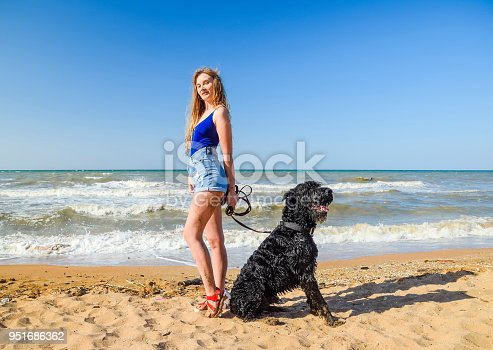 istock Blonde girl with a black curly dog on the beach 951686362