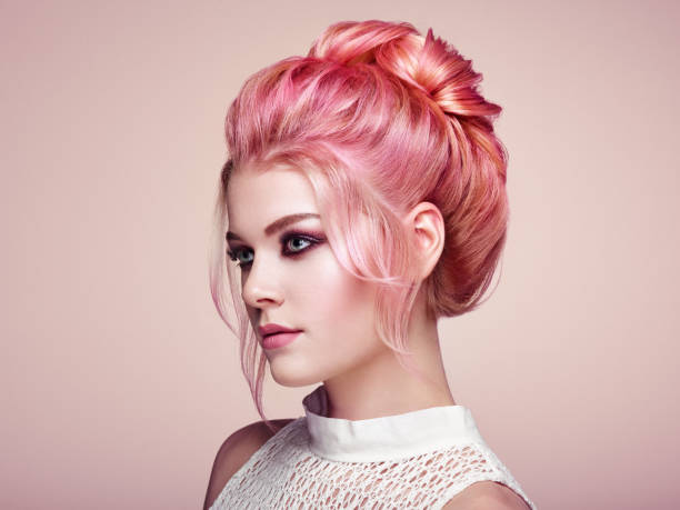 Blonde girl with elegant and shiny hairstyle stock photo