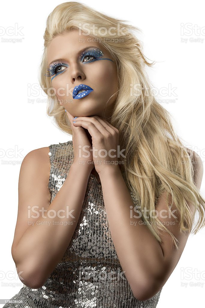 blonde girl with euro flag make-up, she looks at right royalty-free stock photo