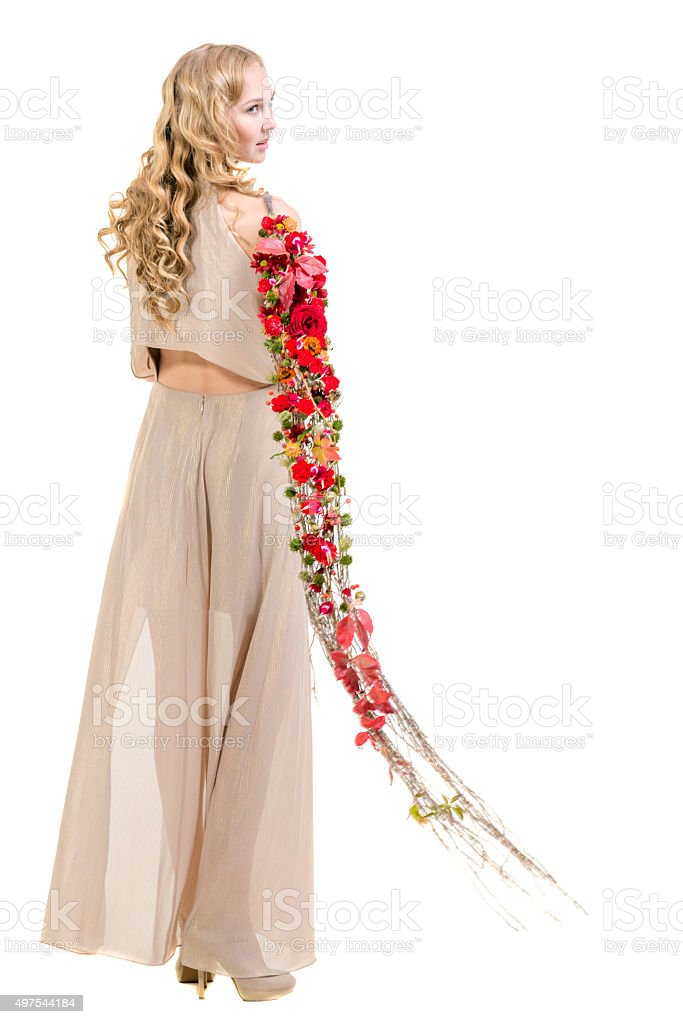 Blonde Girl With Flowers stock photo