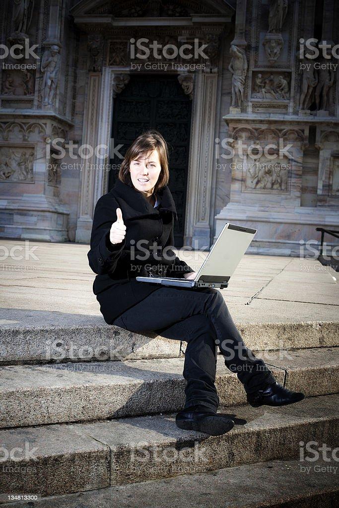 Blonde girl working in Milan royalty-free stock photo