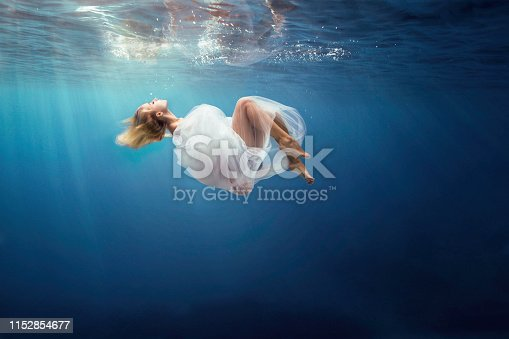 View under water of a fantasy girl wrapped in fine white cloth, sank in blue deep water of ocean, against dark sea background with bright sunshine. Horizontal view.