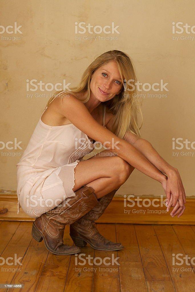 Blonde Hair 'n Cowboy Boots stock photo