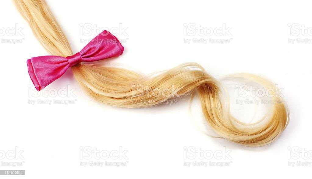 Blonde hair with hairbow stock photo