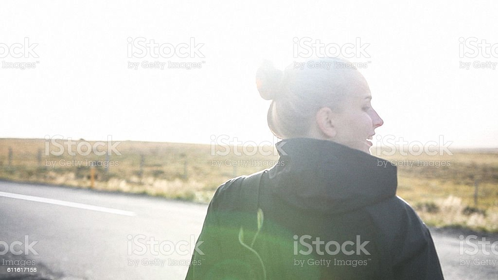 Blonde hiker stock photo