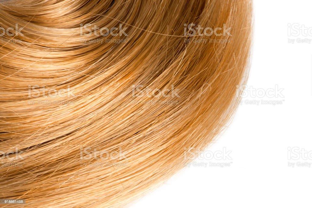 Blonde human hair on white