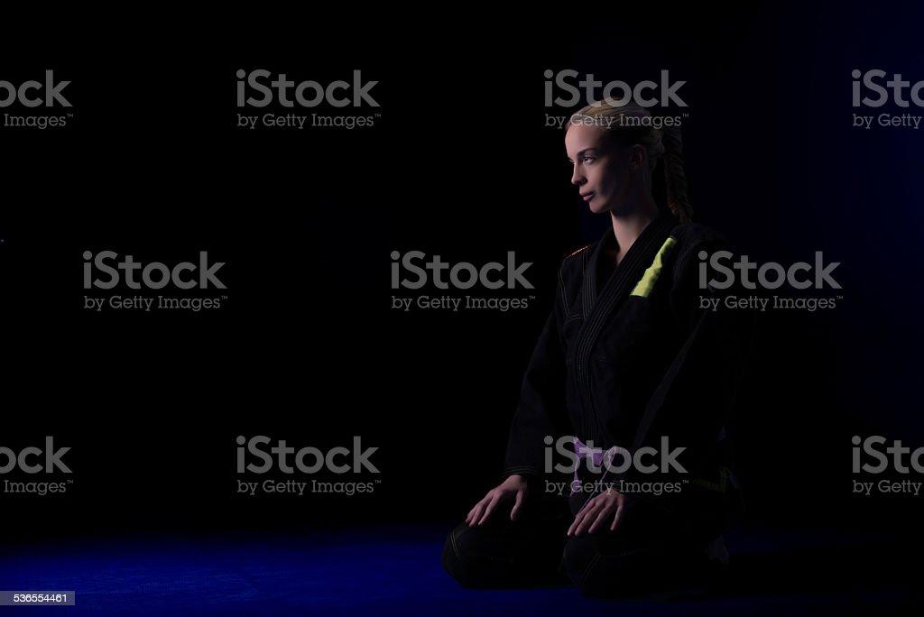 Blonde in black kimono stock photo