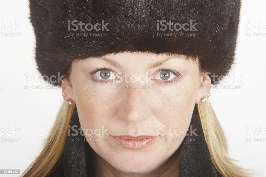 Blonde in Fur royalty-free stock photo