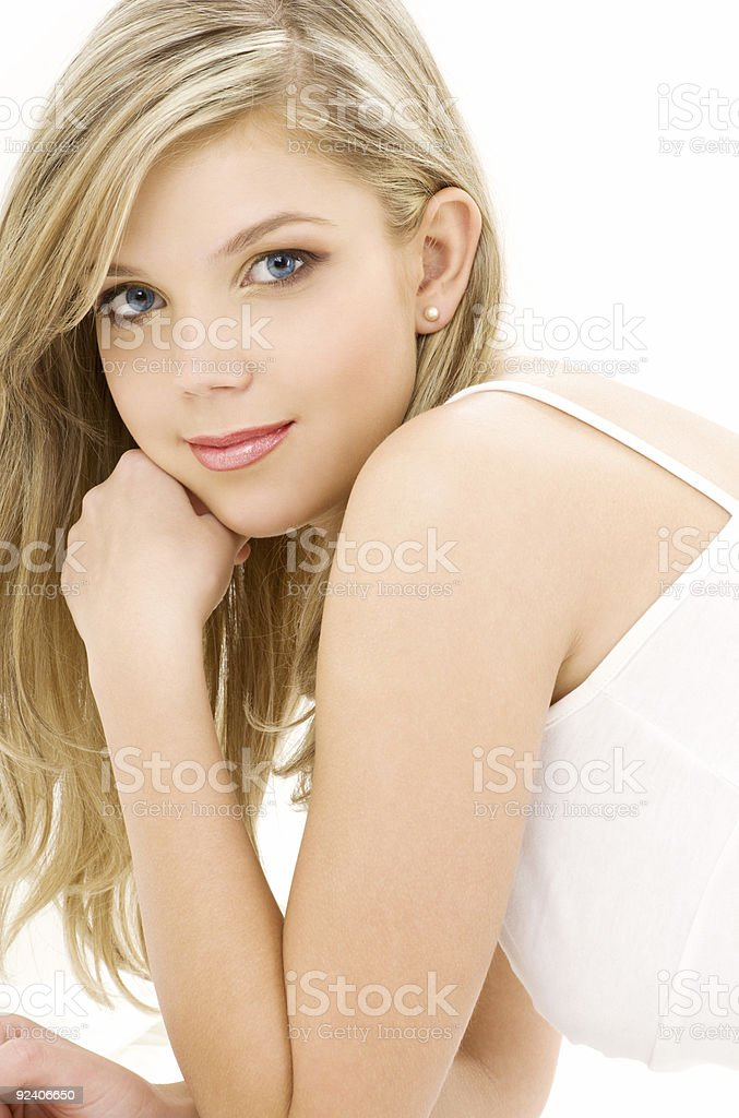 blonde in white cotton underwear royalty-free stock photo