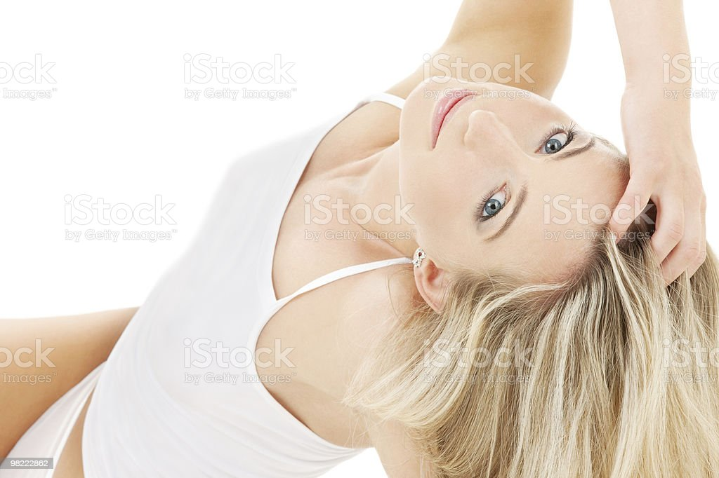 blonde in white cotton underwear royalty-free stock photo