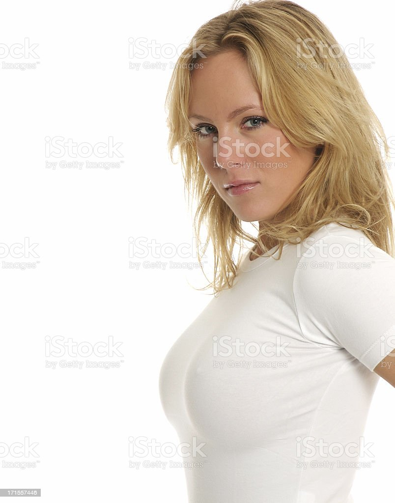 Blonde in white top​​​ foto