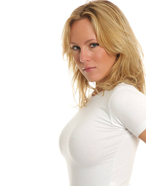 Blonde in white top stock photo