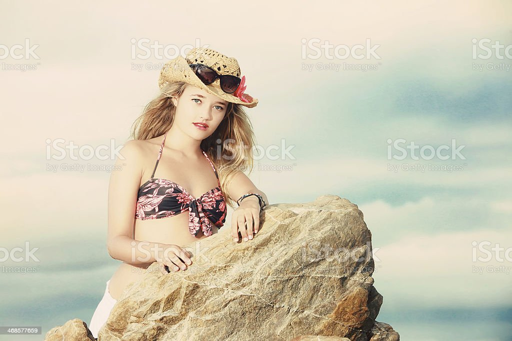 ac2965c9b9703 Blonde Lady In Tropical Bikini Cowboy Hat And Sunglasses Stock Photo ...