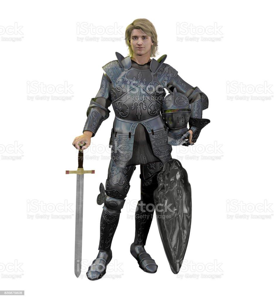 Rubio caballero Medieval de armadura de batalla - foto de stock