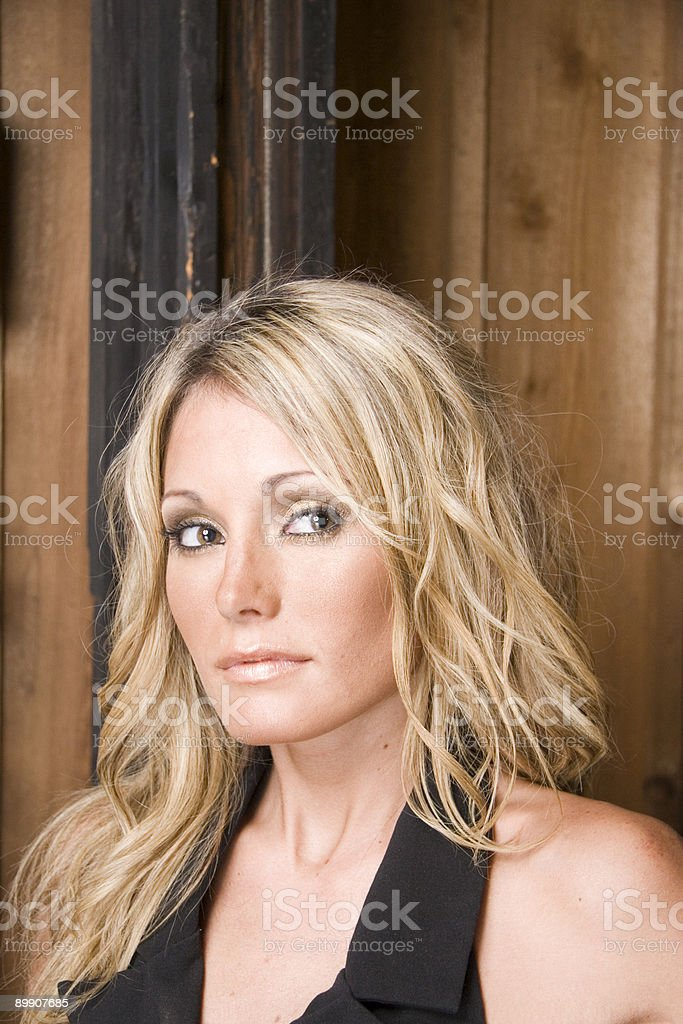 Blonde on Grunge Wall royalty-free stock photo