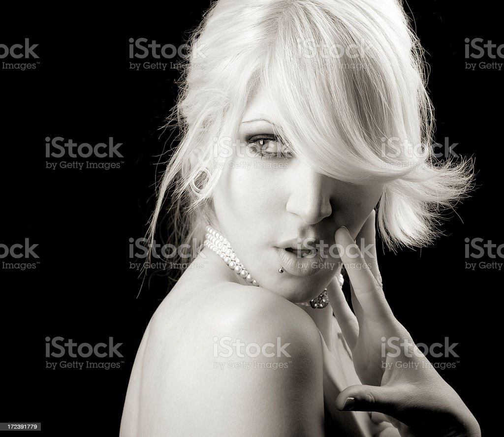 BW blonde portrait royalty-free stock photo
