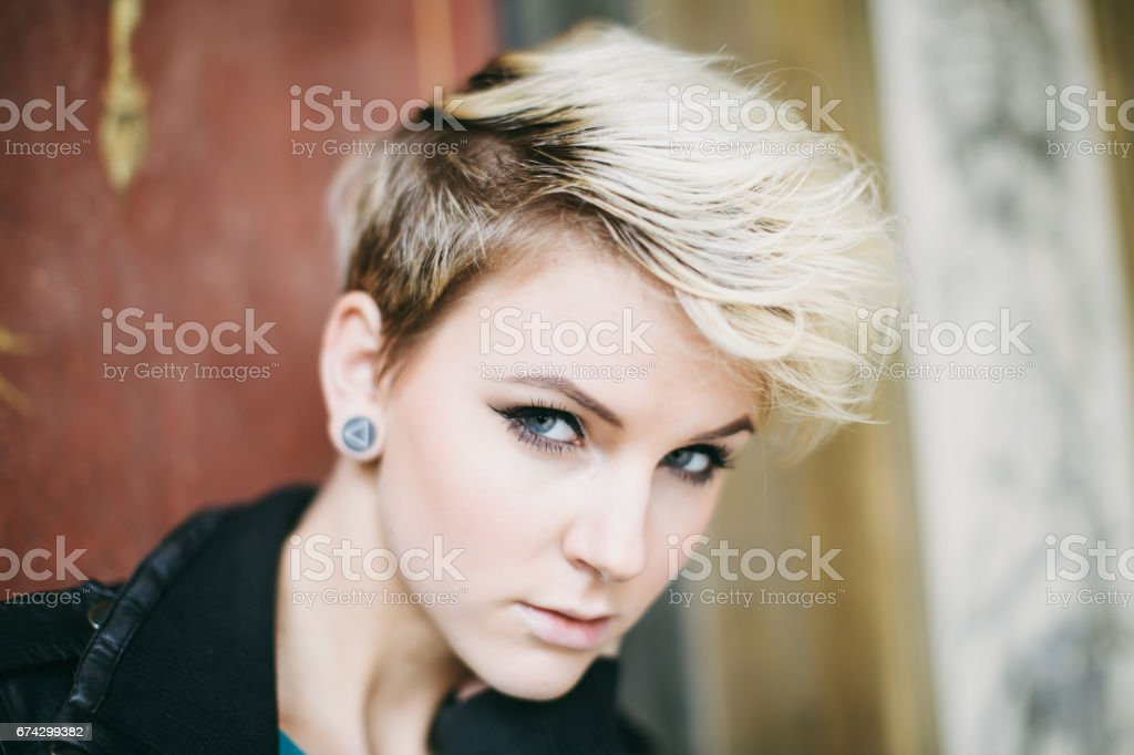 Blonde Punk Style Freaky Young Woman Portrait stock photo