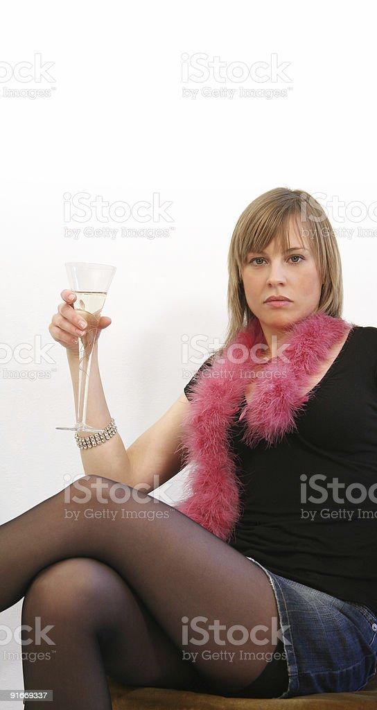 Blonde serious woman royalty-free stock photo