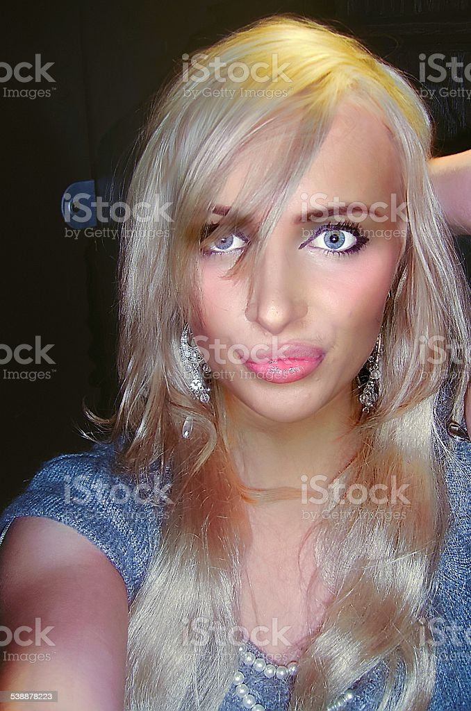 Blonde Sexy Girl Taking Bathroom Selfie Royalty Free Stock Photo