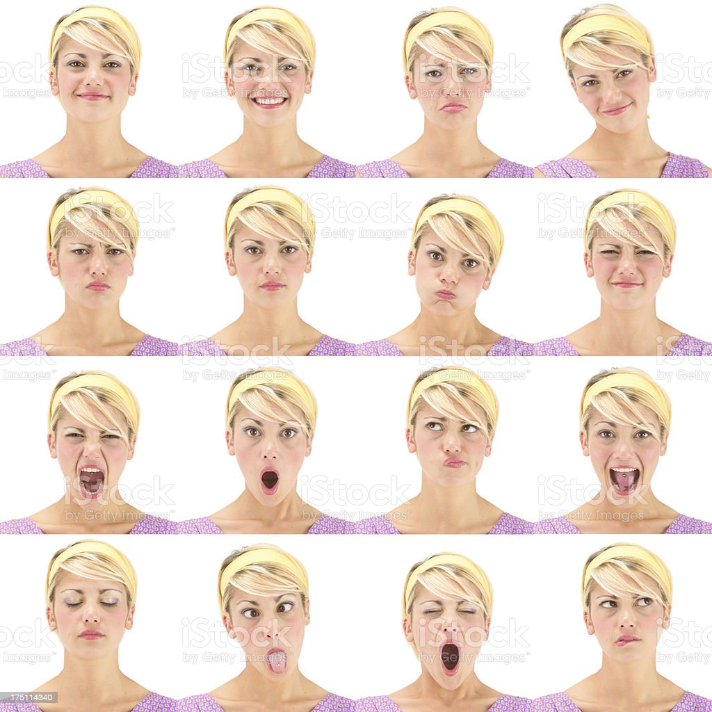 Blonde short hair hairband woman emotion set collection on white royalty-free stock photo